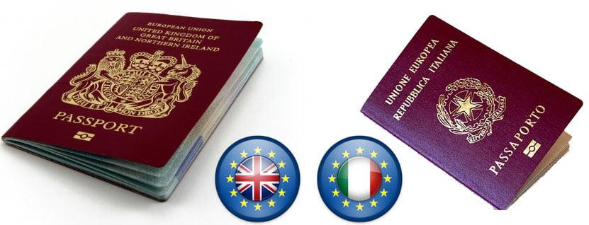 Venezolanos con nacionalidad europea: Reino Unido e Italia.