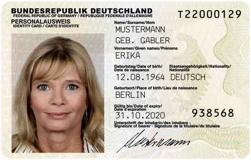 Personalausweis, documento de identidad alemán.