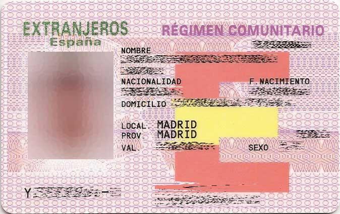 Residir legalmente en España: Tarjeta de Residencia de Familiar de Ciudadano de la Unión.