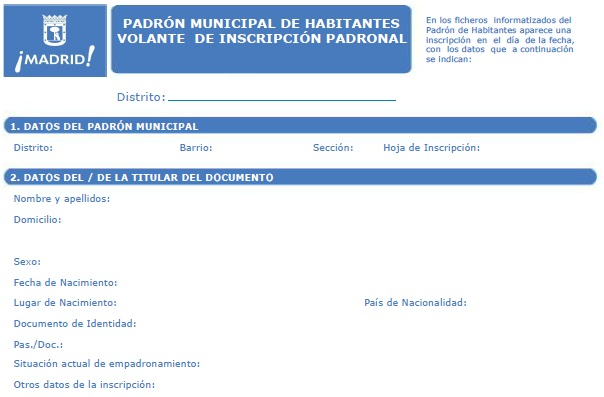 Volante de Padrón Municipal de Madrid